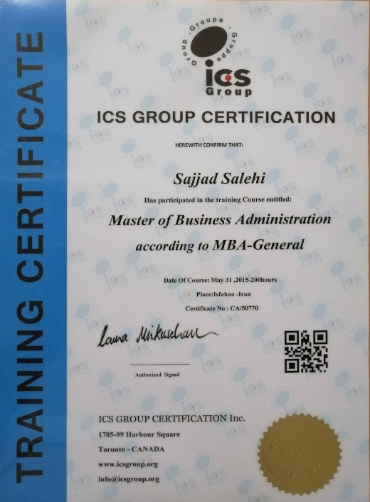 MBA Certification from ICS, Canada