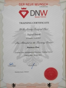 Business Plan Certification from DNW, Austria
