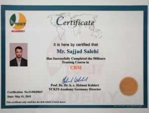 CRM Certification from TCKIT, Germany